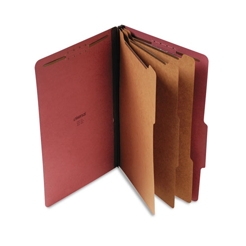 Eight-Section Pressboard Classification Folders, 3 Dividers, Legal Size, Red, 10/Box