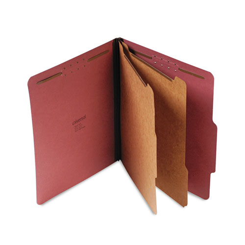 Four-, Six- and Eight-Section Classification Folders, 2 Dividers, Letter Size, Red, 10/Box | by Plexsupply