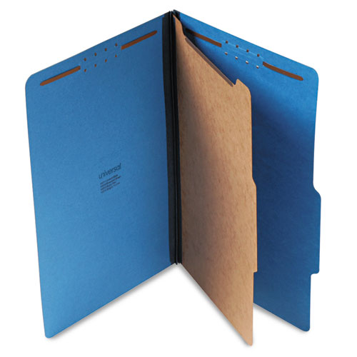 Bright Colored Pressboard Classification Folders, 1 Divider, Legal Size, Cobalt Blue, 10/Box