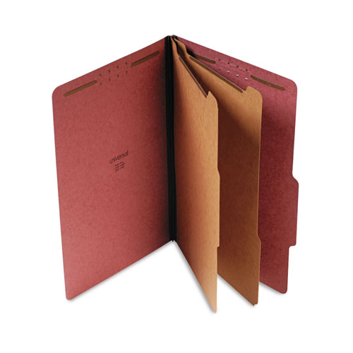 Six--Section Pressboard Classification Folders, 2 Dividers, Legal Size, Red, 10/Box