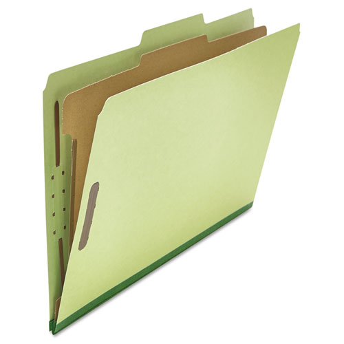 Four-Section Pressboard Classification Folders, 1 Divider, Legal Size, Green, 10/Box