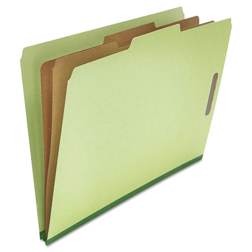 Six--Section Pressboard Classification Folders, 2 Dividers, Legal Size, Green, 10/Box