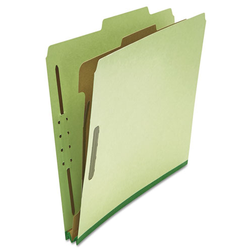 Four-Section Pressboard Classification Folders, 1 Divider, Letter Size, Green, 10/Box