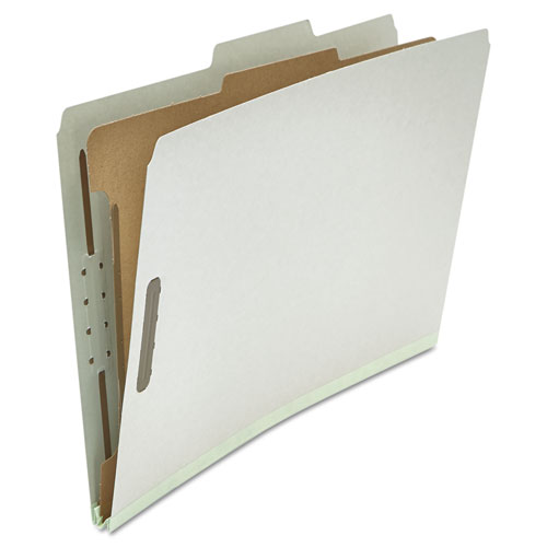 Four-Section Pressboard Classification Folders, 1 Divider, Legal Size, Gray, 10/Box