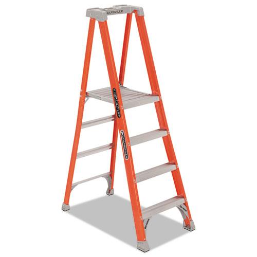Louisville® Fiberglass Pro Platform Step Ladder, 25w x 9 1/2d x 81 1/4h, 4-Step, Orange