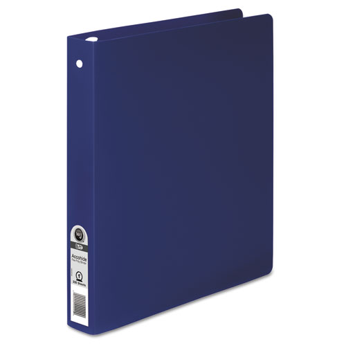 ACCOHIDE Poly Round Ring Binder, 3 Rings, 1 Capacity, 11 x 8.5, Dark Blue