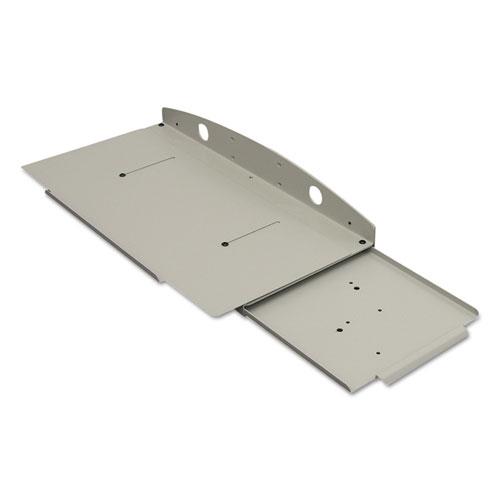 Fixed Keyboard Tray with Sliding Mouse Tray, 8.5 x 18, Gray