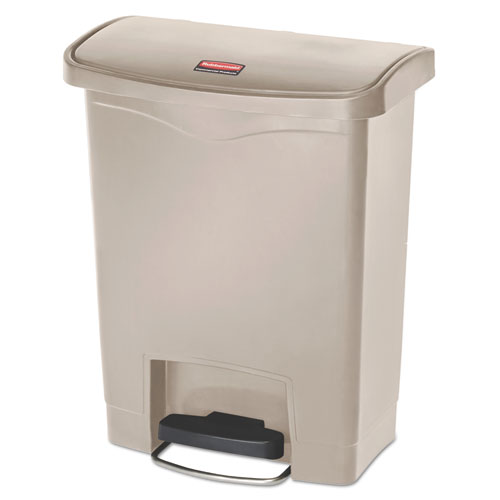 Rubbermaid® Commercial Slim Jim Resin Step-On Container, Front Step Style, 8 gal, Beige