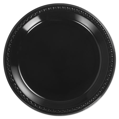 Heavyweight Plastic Plates, 10 1/4 Inches, Black, Round | by Plexsupply