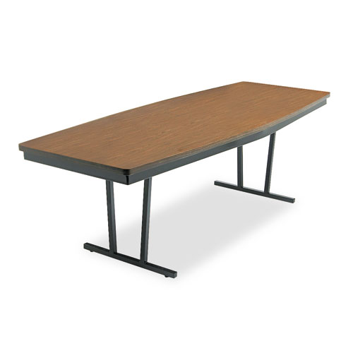 BRKECT368WA Barricks Economy Conference Folding Table, Boat, 96W X 36D X 30H, Walnut\/Black