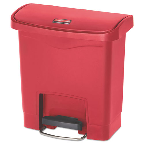 Rubbermaid® Commercial Slim Jim Resin Step-On Container, Front Step Style, 4 gal, Red