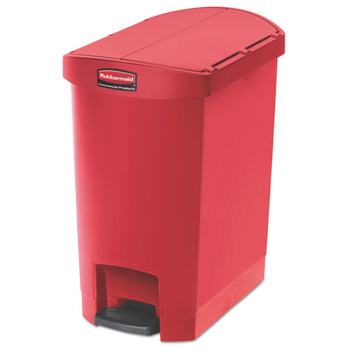 Rubbermaid® Commercial Slim Jim Resin Step-On Container, End Step Style, 8 gal, Red