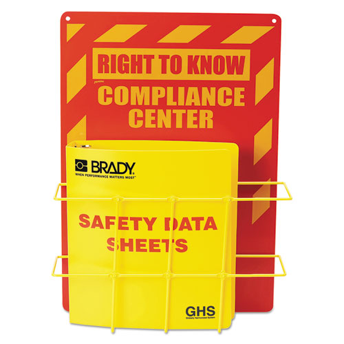 SDS Compliance Center, 14w x 4.5d x 20h, Yellow/Red   by Plexsupply