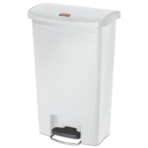 Rubbermaid® Commercial Slim Jim Resin Step-On Container, Front Step Style, 13 gal, White