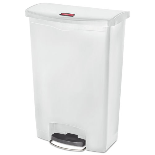 Rubbermaid® Commercial Slim Jim Resin Step-On Container, Front Step Style, 24 gal, White