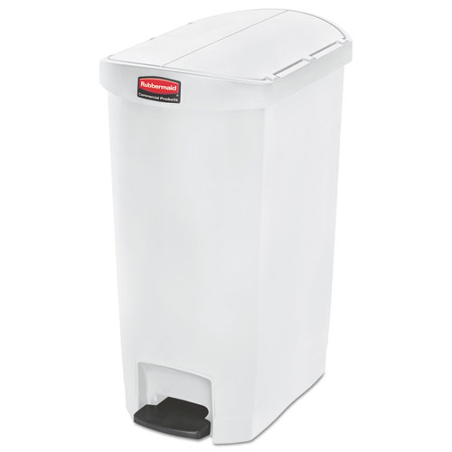 Slim Jim Resin Step-On Container, End Step Style, 13 gal, White
