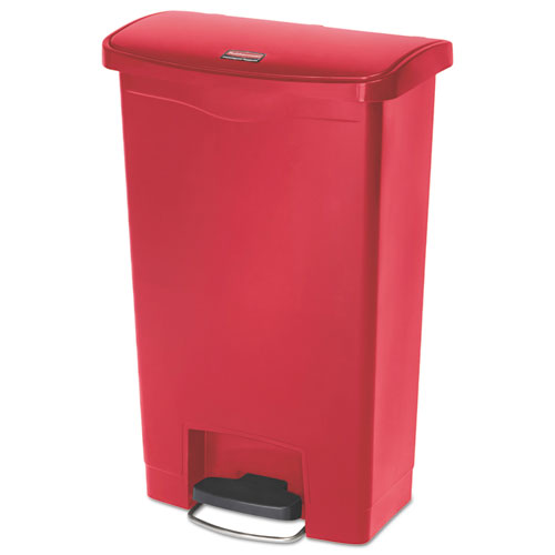 Rubbermaid® Commercial Slim Jim Resin Step-On Container, Front Step Style, 13 gal, Red