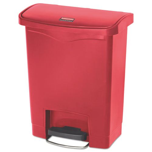 Rubbermaid® Commercial Slim Jim Resin Step-On Container, Front Step Style, 8 gal, Red