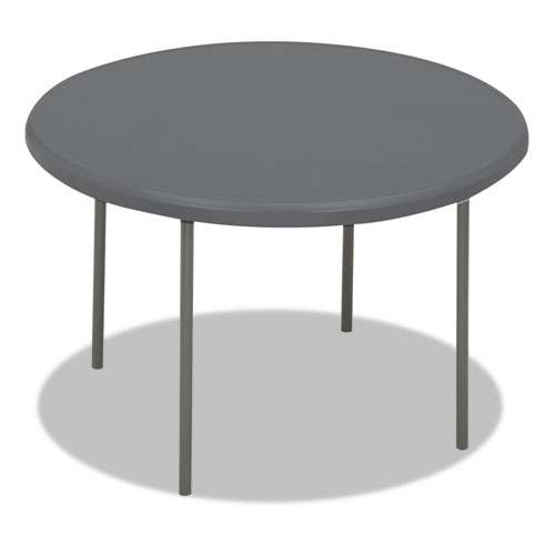 IndestrucTables Too 1200 Series Resin Folding Table, 48 dia x 29h, Charcoal | by Plexsupply
