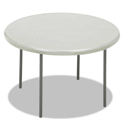 IndestrucTables Too 1200 Series Resin Folding Table, 48 dia x 29h, Platinum | by Plexsupply