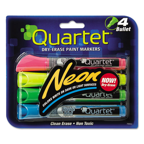 Neon Dry Erase Marker Set, Assorted, 4/Set 79551