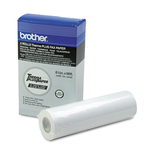"98' ThermaPlus Fax Paper Roll, 1"" Core, 8.5"" x 98ft, White, 2/Pack"