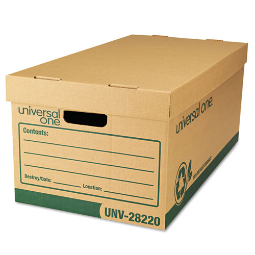 "Universal® Recycled Record Storage Box, Letter/Legal, 12"" x 24"" x 10"", Kraft, 12/Carton"