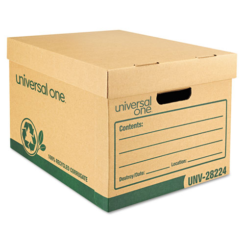 Recycled Record Storage Box, Letter, 12 x 15 x 10, Kraft, 12/Carton