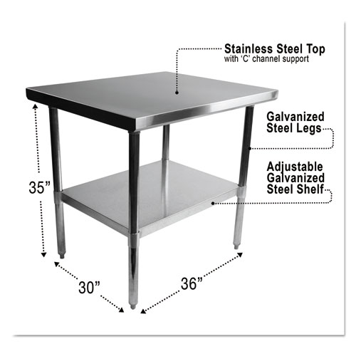 NSF Approved Stainless Steel Foodservice Prep Table, 36 x 30 x 35, Silver   by Plexsupply