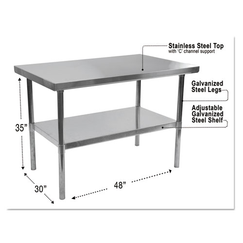 NSF Approved Stainless Steel Foodservice Prep Table, 48 x 30 x 35h, Silver | by Plexsupply