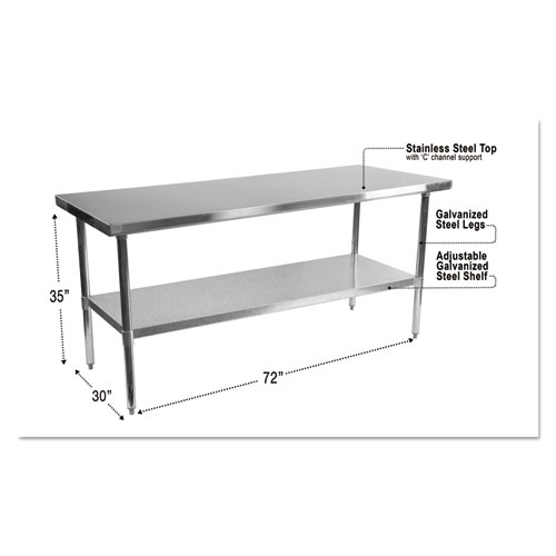 NSF Approved Stainless Steel Foodservice Prep Table, 72 x 30 x 35, Silver   by Plexsupply