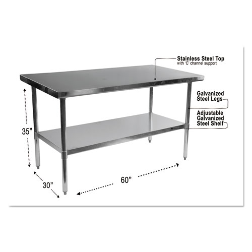 NSF Approved Stainless Steel Foodservice Prep Table, 60 x 30 x 35, Silver   by Plexsupply