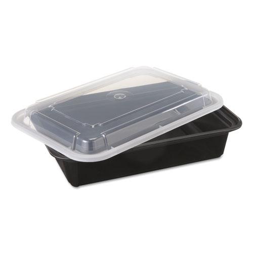 VERSAtainers, Black/Clear, 38oz, 6w x 8 1/2d x 2h, 150/Carton | by Plexsupply