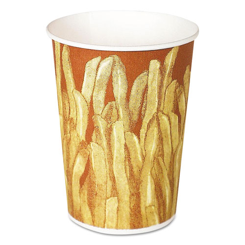 Paper French Fry Cups, 12 oz,Yellow/Brown Fry Design, 1000/Crtn | by Plexsupply
