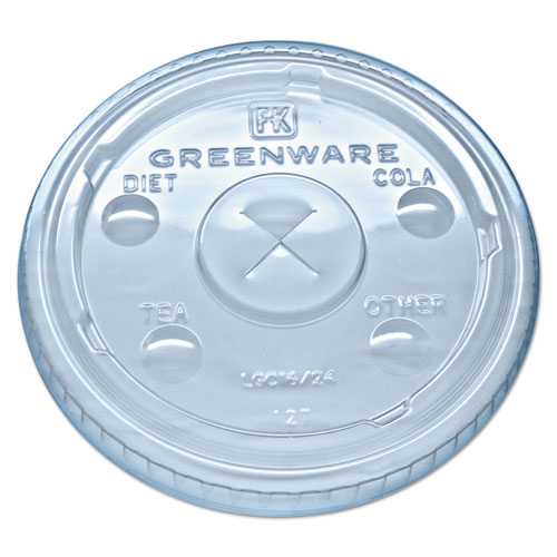 Greenware Cold Drink Lids, Fits 16-18, 24 oz Cups, X-Slot, Clear, 1000/Carton | by Plexsupply