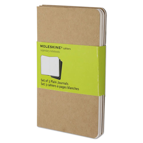 Cahier Journal, Unruled, Kraft Brown Cover, 5.5 x 3.5, 64 Sheets, 3/Pack   by Plexsupply
