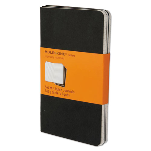 Cahier Journal, Narrow Rule, Black Cover, 5.5 x 3.5, 64 Sheets, 3/Pack   by Plexsupply