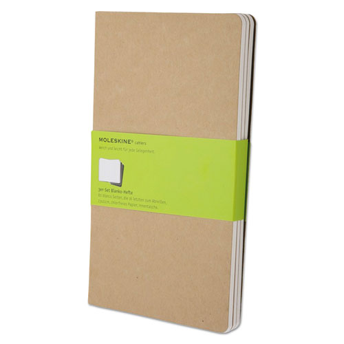 Cahier Journal, Unruled, Kraft Brown Cover, 8.25 x 5, 80 Sheets, 3/Pack   by Plexsupply