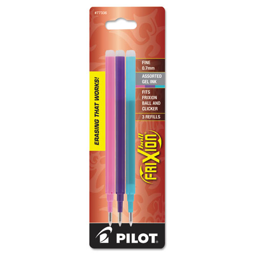 Refill for Pilot FriXion, FriXion Ball, FriXion Clicker and FriXion LX Gel Pens, Fine Point, Assorted Ink Colors, 3/Pack | by Plexsupply