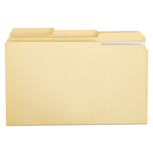 Double-Ply Top Tab Manila File Folders, 1/3-Cut Tabs, Legal Size, 100/Box | by Plexsupply