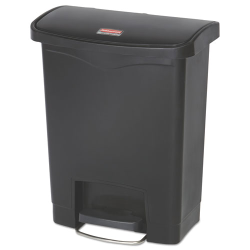 Rubbermaid® Commercial Slim Jim Resin Step-On Container, Front Step Style, 8 gal, Black