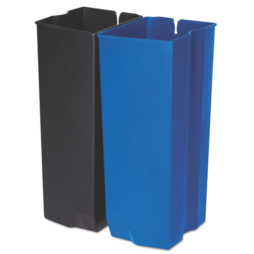Step-On Rigid Dual Liner For Stainless Front Step, Plastic, 24 gal, Black/Blue