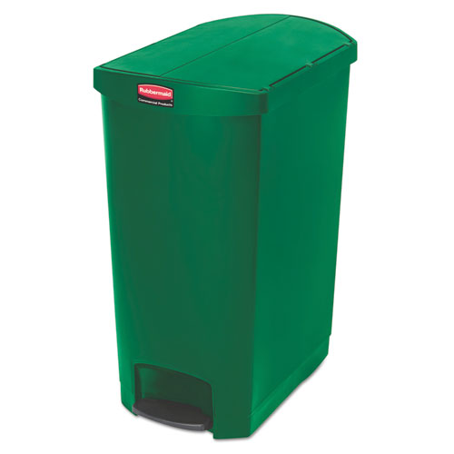 Rubbermaid® Commercial Slim Jim Resin Step-On Container, End Step Style, 24 gal, Green