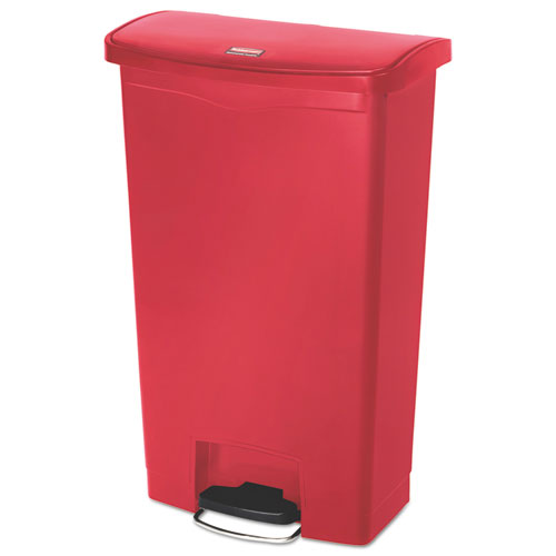 Rubbermaid® Commercial Slim Jim Resin Step-On Container, Front Step Style, 18 gal, Red