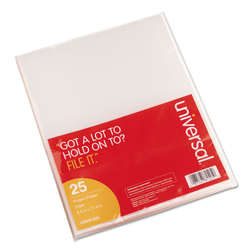 Project Folders, Letter Size, Clear, 25/Pack | by Plexsupply