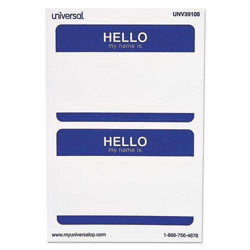 """Hello"" Self-Adhesive Name Badges, 3 1/2 x 2 1/4, White/Blue, 100/Pack"
