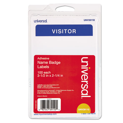 """""""Visitor"""" Self-Adhesive Name Badges, 3 1/2 x 2 1/4, White/Blue, 100/Pack UNV39110"""