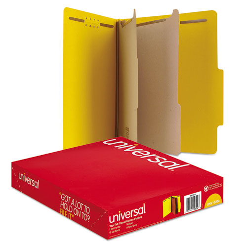Bright Colored Pressboard Classification Folders, 2 Dividers, Letter Size, Yellow, 10/Box