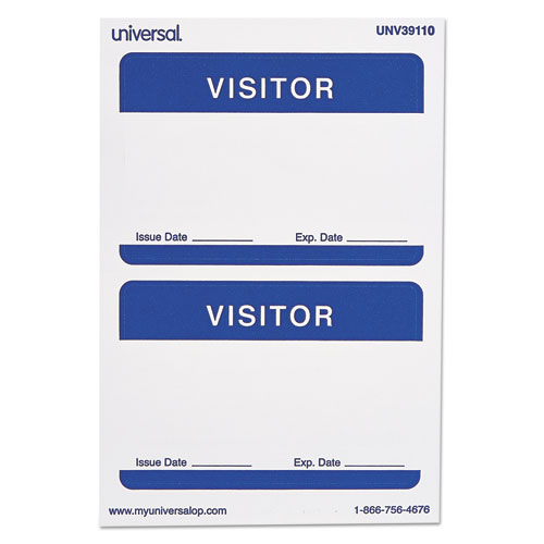 """""""Visitor"""" Self-Adhesive Name Badges, 3 1/2 x 2 1/4, White/Blue, 100/Pack"""