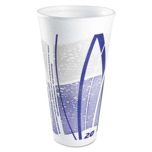 Impulse Hot/Cold Foam Drinking Cups, 20 oz, White/Blue/Gray, 500/Carton 20LX16E